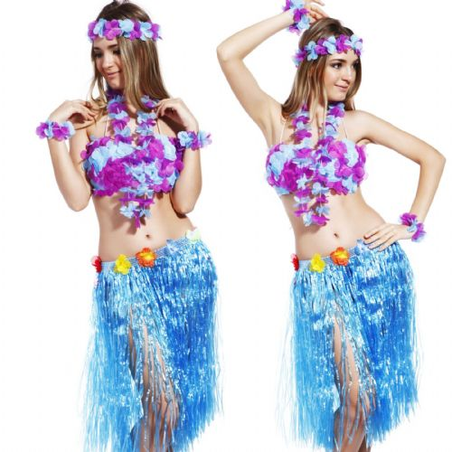 Hawaiian Fancy Dress 6 piece Set - Blue / Purple